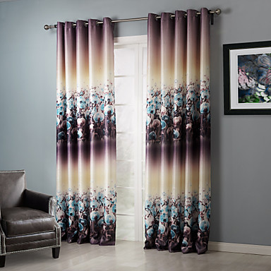 (One Panel Grommet Top) Blackout Dreamlike Floral Clusters Curtain