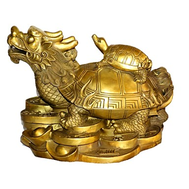 """11""""H Antique Style Dragon Turtle Type Copper Collectible"""