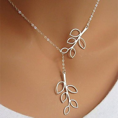 Necklace Silver Plated Pendant Necklaces Jewelry Birthday / Business / Gift / Daily / Casual Leaf Adjustable Alloy Silver 1pc Gift