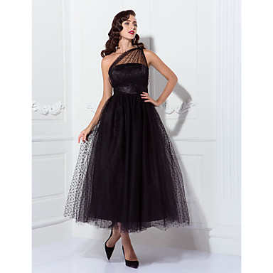 TS Couture Prom Formal Evening Wedding Party Dress - Celebrity Style Vintage Inspired 1950s A-line Princess One Shoulder Ankle-length