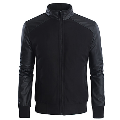 Men's Long Sleeve Casual Jacket,Polyester / Leather Solid Black / Green