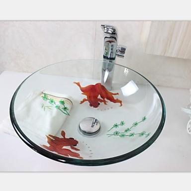 poisson rouge sculpture vier r cipient en verre tremp avec ensemble de robinet d 39 eau chaude et. Black Bedroom Furniture Sets. Home Design Ideas