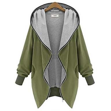 Women's Going outSolid Black Green Long Sleeve Cotton Winter Medium Micro-elastic