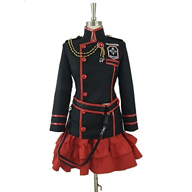 Buy Inspired D.Gray-man Lenalee Lee Video Game Cosplay Costumes Suits Patchwork Black / Red Long Sleeve Coat Skirt Belt Socks
