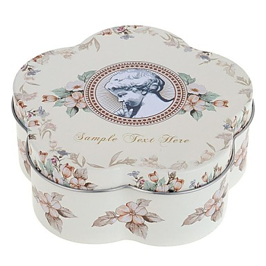 Buy Lovely Flower Shape Pretty Girl Style Canister Carrying Tin Box