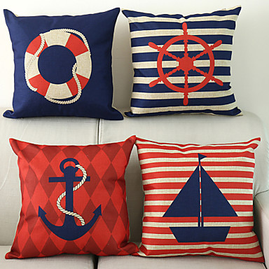 Buy Set 4 Nautical Pattern Cotton/Linen Decorative Pillow Cover