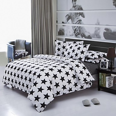 Factory Direct Starry Bedlinen White And Black Printed