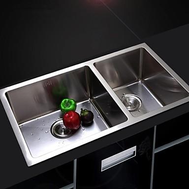 Pouces l30 7 double vasque en acier inoxydable 304 vier for Evier cuisine double vasque