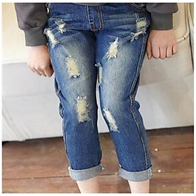 Girl's Solid Jeans,Denim Winter / Spring / Fall Blue