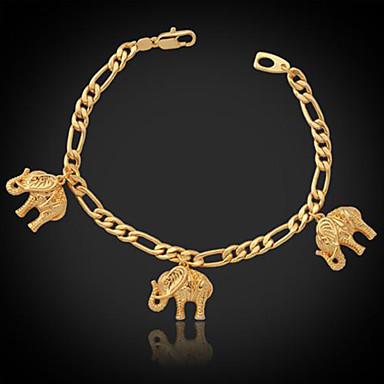 Buy U7® Cool Elephants Charms Bracelet Figaro Chain 18K Real Gold Plated Fashion Jewelry Gift Women Men 21CM