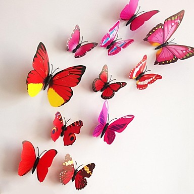 12pcs 3D Wall Stickers Wall Decals, Colorful Butterflies PVC Wall Stickers