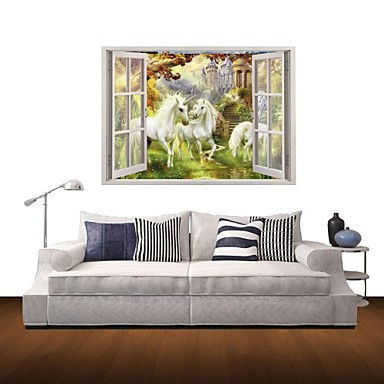 Buy 3D Wall Stickers Decals, White Horse Unicorn Decor Vinyl