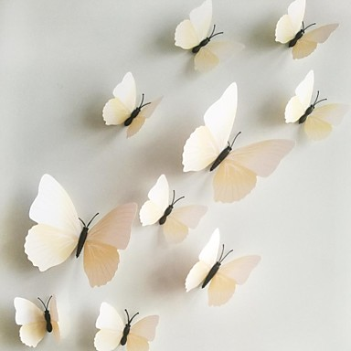 Buy Wall Stickers Decals, 1 3D PVC Magnetic white Butterfly Sticker Home DIY Stickers.
