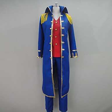 Buy Inspired One Piece Monkey D. Luffy Anime Cosplay Costumes Suits Patchwork Blue Long Sleeve Coat / Vest Pants