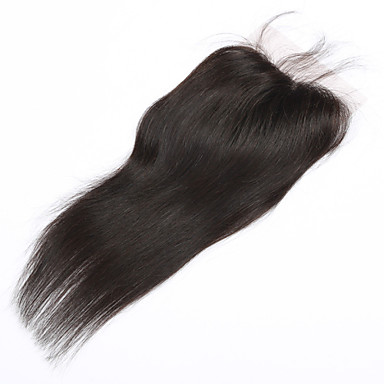 Buy 4x4 inch 20 inchBrazilian Human Hair Lace Closure Straight Piece Natural Colour Free Part