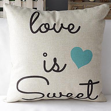 Modern Style Romantic Words Blue Heart Patterned Cotton/Linen Decorative Pillow Cover 2921688 ...