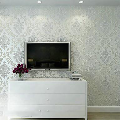 Eigentijds behang bloemen luxe 3d damascus ontwerpt parelwit wandbekleding non woven papier - Kleur gevel eigentijds huis ...
