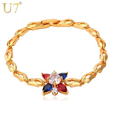 Buy U7® Women's Luxury Cubic Zironia Bangle 2015 Trendy 18K Real Gold Plated Multicolor Flower Charm Bracelet