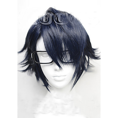 Buy Angelaicos Men K Fushimi Saruhiko Boys Mix Black Blue Layered Harajuku Halloween Party Costume Cospaly Wigs