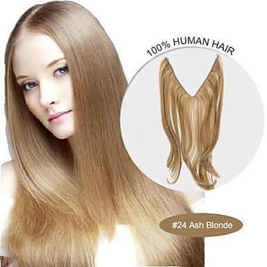 20inch 24 ash blonde halo hair extensions 100 human hair