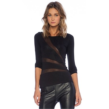 New 2015 hot women solid black t shirt long sleeve cotton for Shirts with see through backs