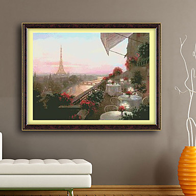 In paris set to cross stitch living room diamond cross stitch needlework wall home decor 71 52cm Home decor wall crosses