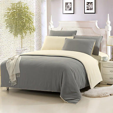 yuxin light gray color cotton duvet cover sets 4 piece suit comfort simple modern for twin full. Black Bedroom Furniture Sets. Home Design Ideas