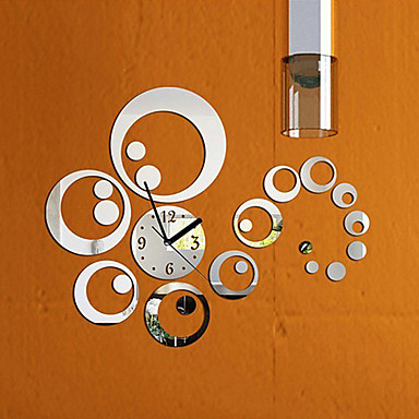 Buy Fashion Removable Clock Mirror Style DIY Art Wall Stickers Home Decor (Silver)