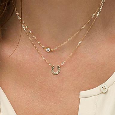 Women's Fashion U Type Pendant Double Chain Necklace ...