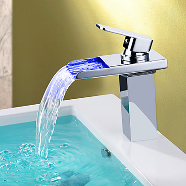Buy Modern LED RGB Waterfall Chromed Single Lever Battery Mixer Faucet Taps