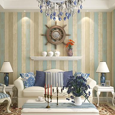Buy Contemporary Wallpaper Stripe 0.53m*10m Wall Covering Non-woven Paper Art