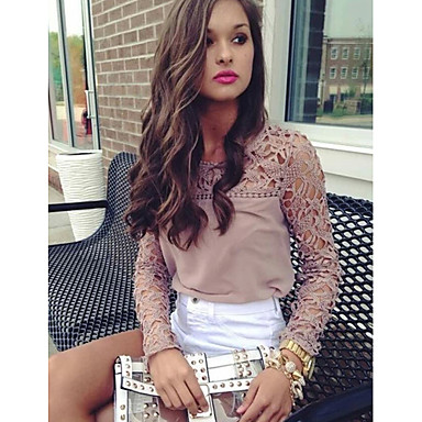 Buy Women's Lace Crochet Pink Blouse, Round Neck Long Sleeve Hollow