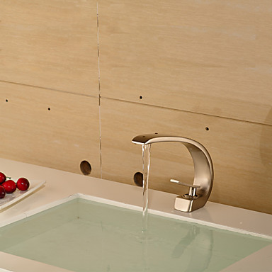 Contemporary style nickel single handle one hole hot and - Bathroom sink faucets separate hot and cold ...