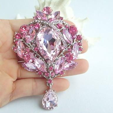 3.54 Inch Silver-tone Pink Rhinestone Crystal Drop Flower Brooch Pendant Art ...