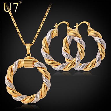 Buy U7® Women's Vintage Jewelry Set Big Hoop Earrings Platinum/Gold Plated Two-tone Gold Necklace