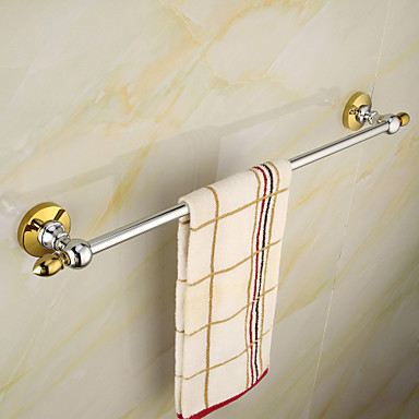 Traditional gold chrome brass 60cm single towel bar 4175867 2016 Traditional bathroom accessories chrome
