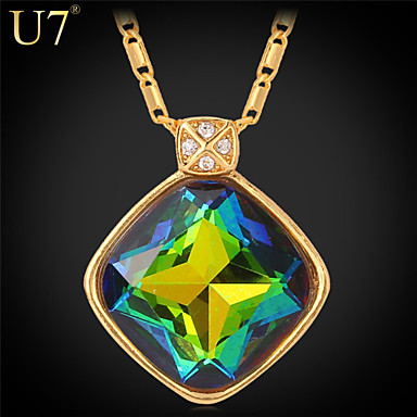 Buy U7® Women's Fancy Stone Fashion Necklace 18K Gold Plated Clear Rhinestone Multicolor Crystal Pendant