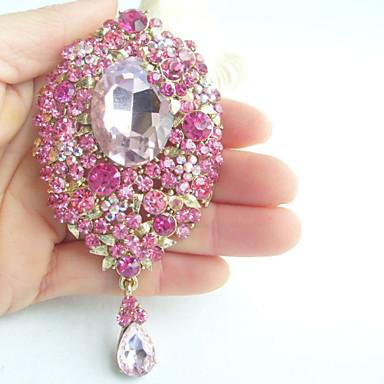3.94 Inch Gold-tone Pink Rhinestone Crystal Drop Flower Brooch Pendant Art Deco