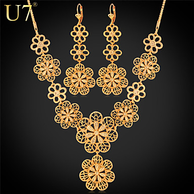 Buy U7® Women's Exquisite Flowers Long Earrings 18K Gold Plated Hollow Maxi Necklace Boho Jewelry Sets