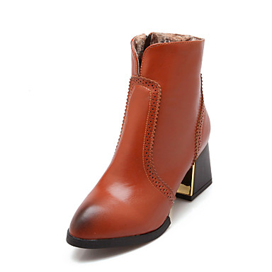 Simple Women39s Shoes Chunky Heel Fashion BootsCombat BootsRound Toe Boots