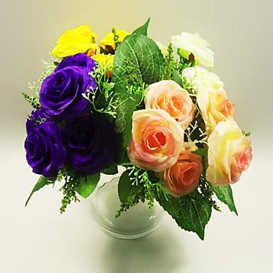 6 jefes de rosa en tela de seda de flores artificiales - Plantas artificiales para decoracion ...