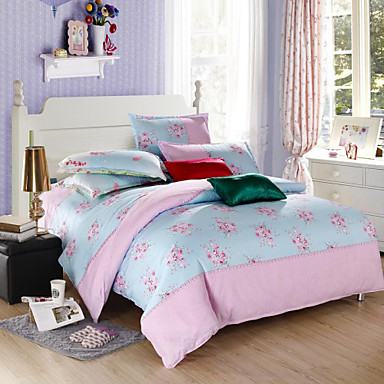 mingjie blue and pink flowers queen and twin size sanding bedding sets 4pcs for boys and girls. Black Bedroom Furniture Sets. Home Design Ideas