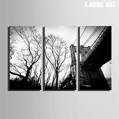 Buy E-HOME® Stretched Canvas Art Dead Bridge Decoration Painting Set 3