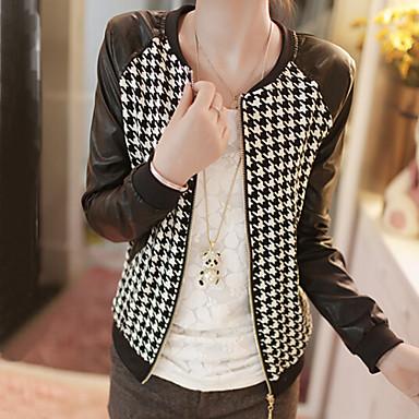 Women's Plaid PU Patchwork Zipper Jackets , Casual Round Neck Long Sleeve