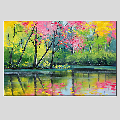Oil painting modern landscape canvas material with for Materials for canvas painting
