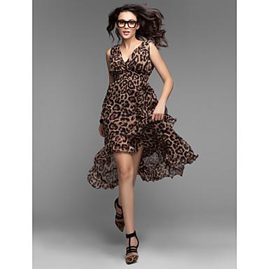 Женское шифоновое платье с V-образным вырезом и с леопардовым принтом