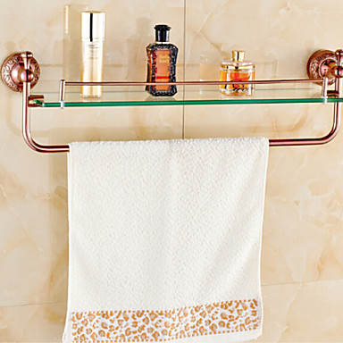 Bathroom shelves rose gold wall mounted glass shelf for Gold glass bathroom accessories
