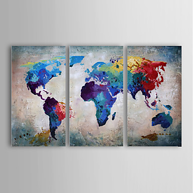 Oil painting modern abstract landscape set of 3 hand for Set of three canvas paintings