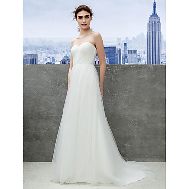 LAN TING BRIDE Sheath / Column Wedding Dress Simply Sublime Sweep / Brush Train Sweetheart Tulle with Ruche