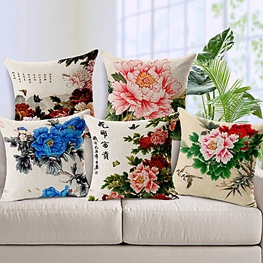 Buy Set 5 Country Flowers Cotton/Linen Decorative Pillow Cover